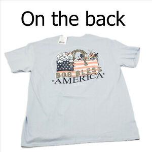 NWT-Itsa-Girl-Thing-Dog-Bless-America-Blue-T-Shirt-Large