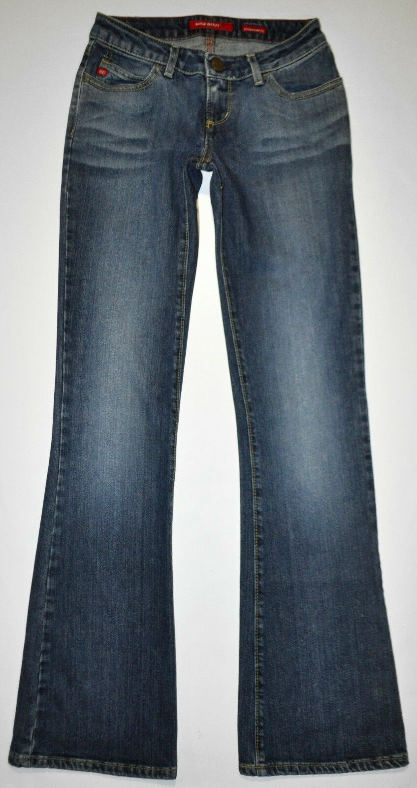 Miss Sixty Women's Sz 27 X 32.5 Stretch Extra Low Ty Jeans Flare Factory Faded