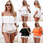 Women Chiffon Sexy Off Shoulder Summer Shirt Casual Boho Beach Crop Top Blouse