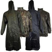 Mens Breathable Waterproof Rain Hiking Jacket Work Military Coat Hooded Long