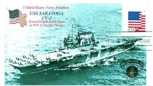 Uss-Saratoga-CV-3-Ww-II-Aircraft-Trasportatore-Foto-Cacheted-Primo-Day-Of-Issue