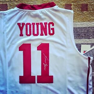 competitive price ef417 17d6e Details about Trae Young Signed Autograph Oklahoma Sooners Jersey NCAA NBA  Atlanta Hawks