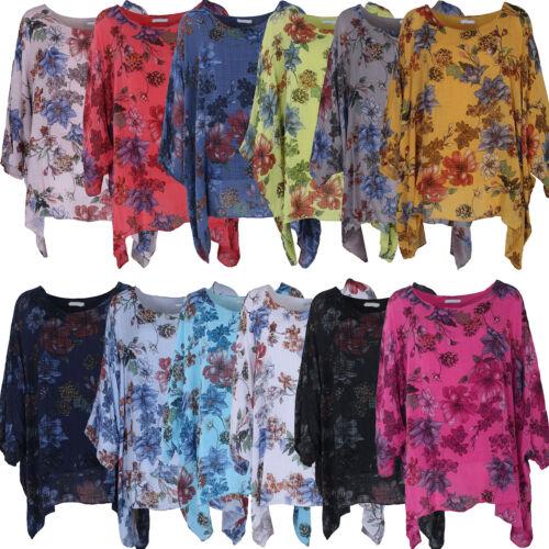 New Ladies Floral lagenlook Batwing Top Women Floral Linen Tunic Top Plus sizes