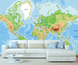 Giant Map Of The World Photo Wall Mural Wallpaper World Map 400cm X