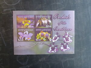 2004-GRENADA-CARRIACOU-ORCHIDS-4-STAMP-MINI-SHEET-MNH
