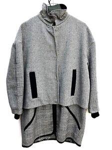 8e41397148 Topshop Wool Check Borg Duffle Coat SIZE UK10 EUR38 US6 RRP £89 New ...