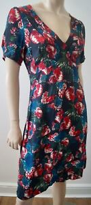Brora line Floral Neck colour A Print Jersey Multi Sleeve Dress Short Pleated V rFq4rw