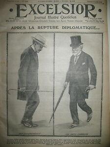 WW1-N-1369-RUPTURE-DIPLOMATIQUE-FORTIFICATIONS-DE-LIEGE-JOURNAL-EXCELSIOR-1914