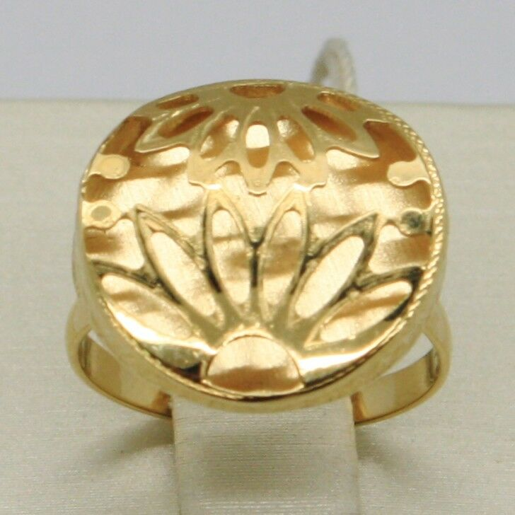 18K YELLOW gold RING FINELY WORKED FLOWER CIRCLE CENTRAL DAISY SUN MADE IN ITALY