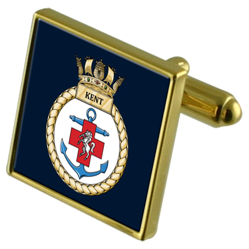 Royal Navy Hms Kent Colore Colore Colore oro Gemelli 89b910