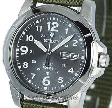 New Mens Seiko Solar Black Dial & Khaki Military Buckle Strap SNE095P2