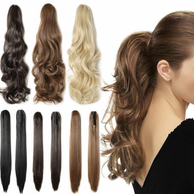 100% New Real Clip In As human Hair Extension Pony Tail Jaw Claw On Ponytail FCE