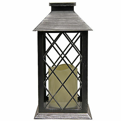 Traditional Steel Effect Lantern with LED Flickering Candle Light ~ Design B 697