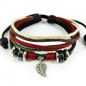 Leaf-Black-Leather-Adjustable-Bracelet-Handmade-Cuff-Women-Men-s-Bangle-Jewelry