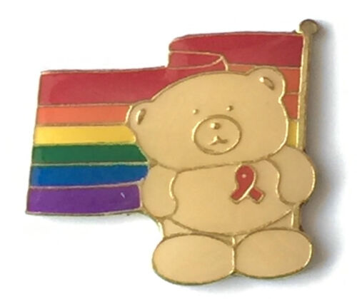 Rainbow LGBT Gay Pride Bear Wearing Red Ribbon Pin Badge GOLD plated