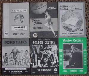 RARE-LOT-OF-6-BOSTON-CELTICS-YEARBOOKS-1958-SEASON-THROUGH-1965