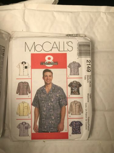 46-48 50-52 McCalls Sewing Pattern 2149 34-36 38-40 Mens Shirts 42-44