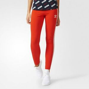 NEW WOMEN'S ADIDAS ORIGINALS 3-STRIPES LEGGINGS [BJ8362] RED // WHITE