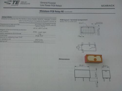 2 Stück SCHRACK RE030024 PCB Relay 1NO coil=24VDC 6A//250Vac M3812
