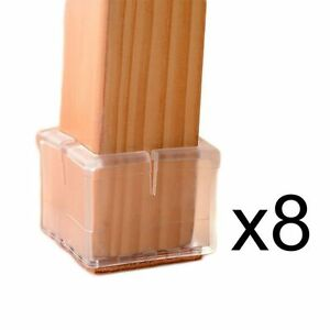 8 X Square Chair Leg Caps Rubber Feet Protector Pads