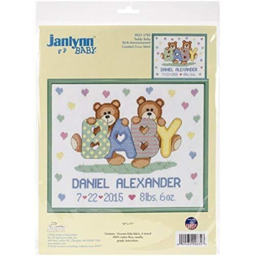 "Janlynn Counted Cross Stitch Kit 14/""x11/""-teddy Bear Sampler 14 Count"