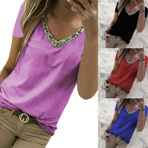 Fashion Women Summer Casual Sequin Short Sleeve V-Neck Top Casual Blouse T-Shirt
