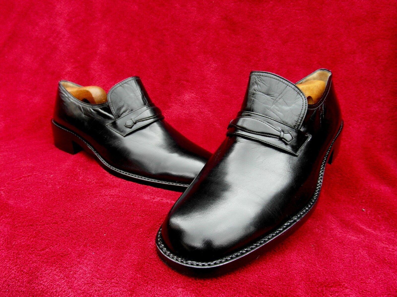 Einmal getragene MORESCHI Loafer-Slipper-RBHMENGENÄHT-43-43,5-Black Series-TOP