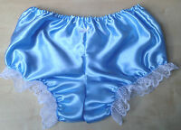 blue satin knickers pants pantaloons french maid sissy adult baby 34-42 bloomers