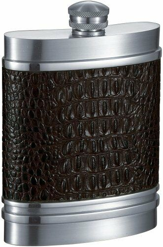 Visol Jarouge Handcrafted in USA marron Leather 6oz Pewter Flask
