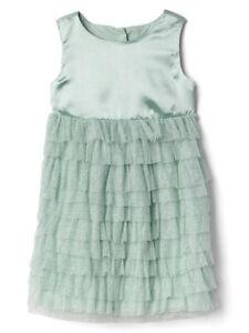 New Gap Toddler Girls Green Satin Tulle Easter Party Dress Wedding