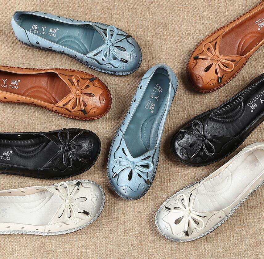 Women Genuine Leather Loafers Comfort Soft Oxford Flat shoes Slip On Loafers SZ