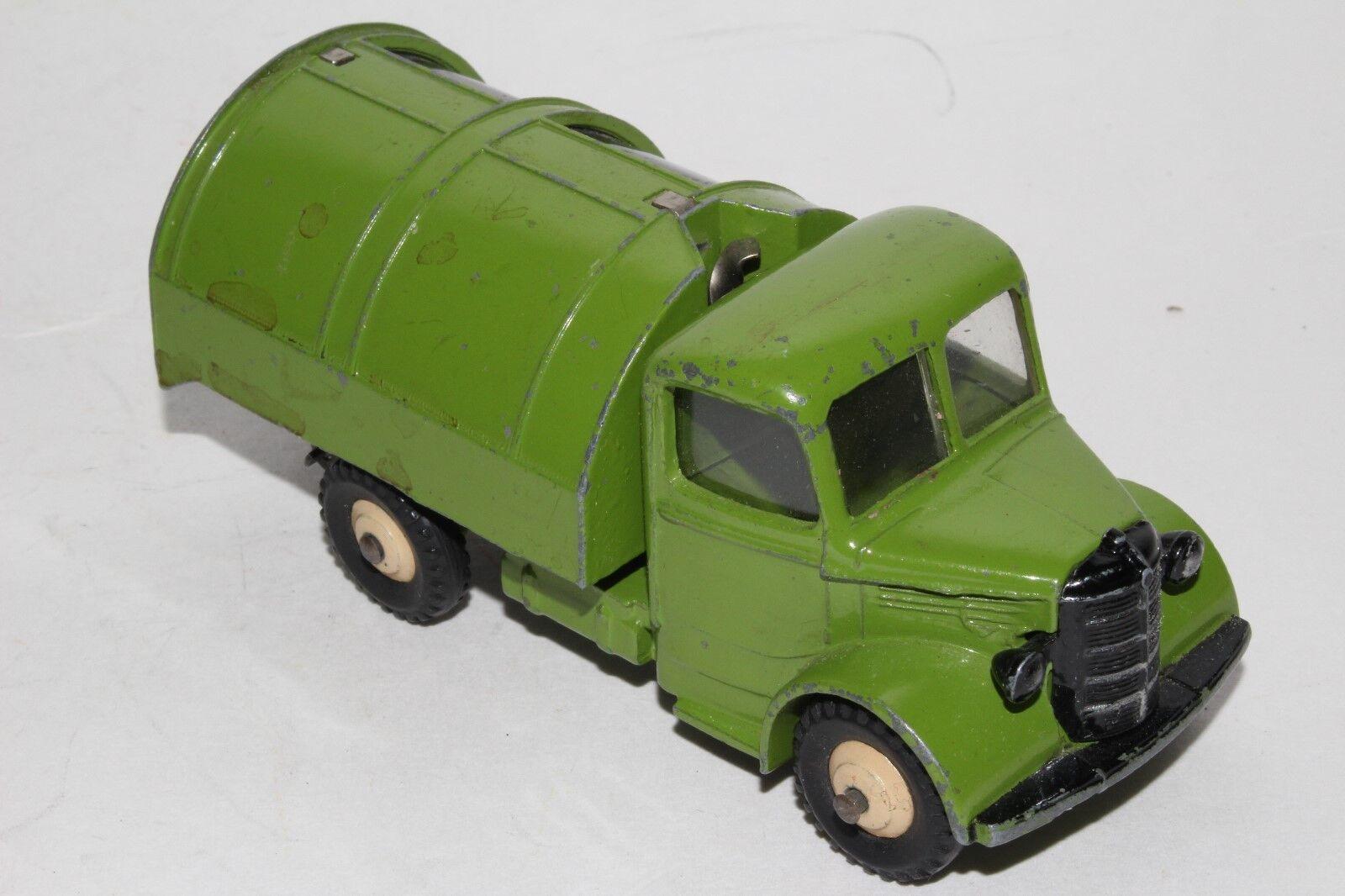 594ms Dinky 252 Bedford Basura Camión, verde con Negro Puertas, Original