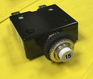 15 AMPS PUSHBUTTON THERMAL CIRCUIT BREAKER RESET SWITCH W58 STYLE
