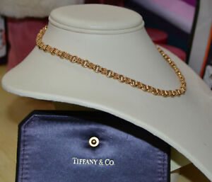 Tiffany-amp-Co-14k-585-Yellow-Gold-Circle-Link-amp-Rope-Twist-Chain-Necklace-15-3-4-034