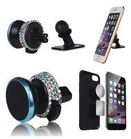 Car Accessory Bling Diamond Crystal Cellphone Mount Holder For Girls Women Blue