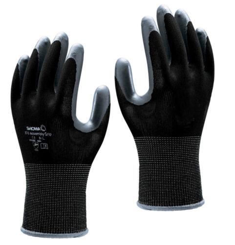 10 Paia Showa 370 Assembly Grip NITRILE Palm Guanti Nero Taglie 5 XS XXL 10
