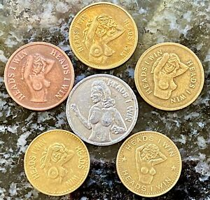 Lot Of 10 Vintage 'Heads I Win,Tails U Lose' Tokens •Novelty Adult Coins•