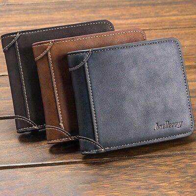Mens Boys  Cash Credit Card Photo ID PU Leather Multi Colour Purse Wallet New