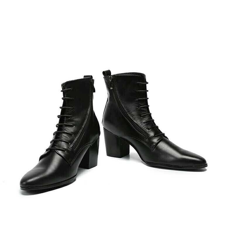 botas para hombre funciona Cremallera Lateral desgaste resistir Puntera en Punta botas al Tobillo Con Cordones De Cuero Nuevo Con