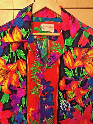 Vintage 60s Mod Pomare Tahiti Men's Hawaiian Brite Neon Floral Polyester Shirt L