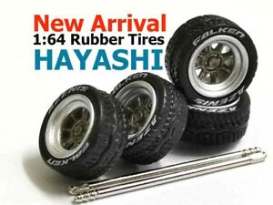 1-64-rubber-tires-Hayashi-rims-fit-Hot-Wheels-diecast-model-cars-1-sets
