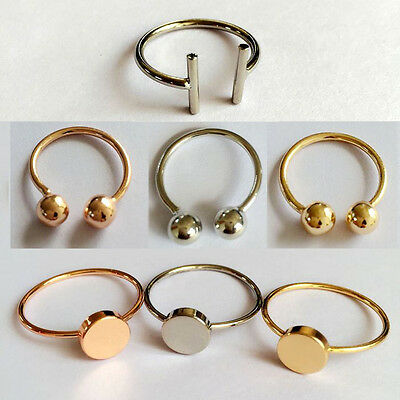 Double Disk Bar Beads Ball Rings Open Cuff Brass Bow Jewelry For Party Cocktail