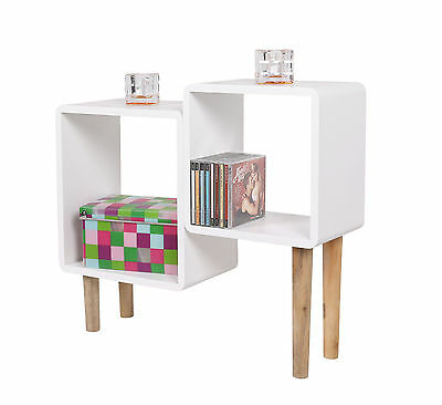 Lounge Regal Design Retro 70er Cube Wohnzimmer Standregal Holzfüße in Weiß NEU