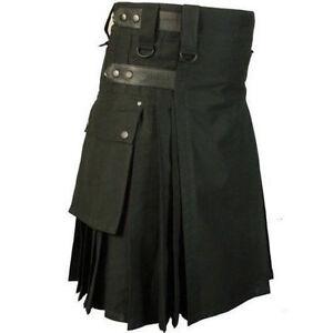 per moda cotone uomo fatto nero a 100 personalizzata mano Deluxe Kilt taglia z5Zq4wY1q