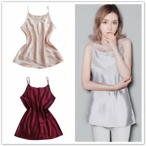 Dama-Vestido-Vest-de-Seda-Sintetica-Correa-Saten-camisola-blusa-sin-mangas-Camiseta-sin-mangas
