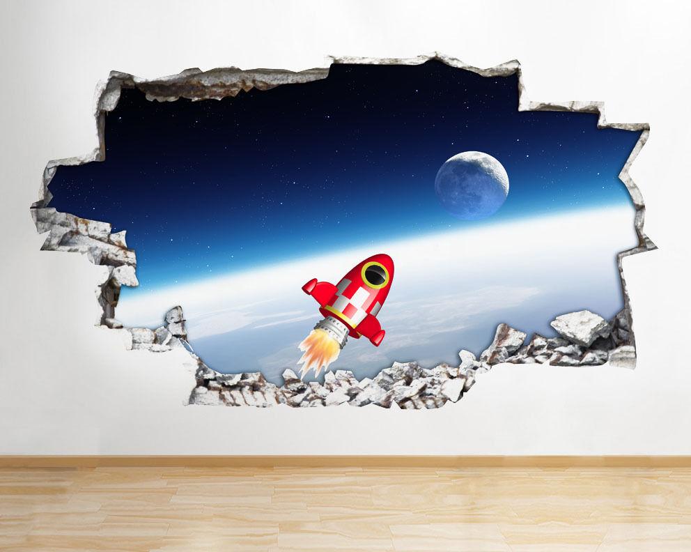 Q144 Rocket Espace Lune Cool Kids Smashed  Autocollant Chambre 3D Vinyle enfants