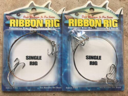 Boone Workman Ribbon Single Rig 2 Pck 2//0 Hook 3 #4 Treble Hooks Free Shipping