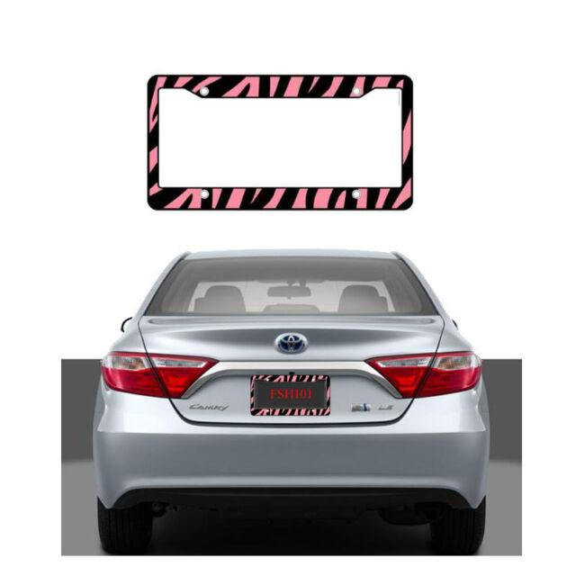 2pcs Pink Black Zebra Print Car Truck SUV License Plate Frames Made ...
