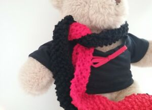 Teddy-Bear-Clothes-Handmade-Red-amp-Black-T-shirt-amp-Scarf-Supporters-Kit