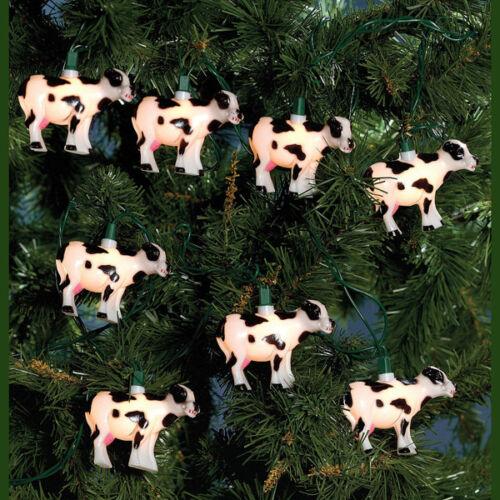 KURT S ADLER NOVELTY COW CHRISTMAS LIGHTS 10 LIGHT SET